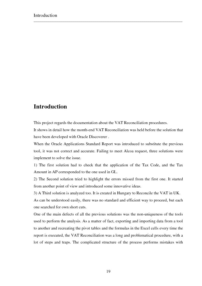 Anteprima della tesi: Il progetto dell'enterprise business solution: vta reconciliation, sviluppo di una soluzione in un contesto multinazionale utilizzando oracle discoverer, Pagina 8
