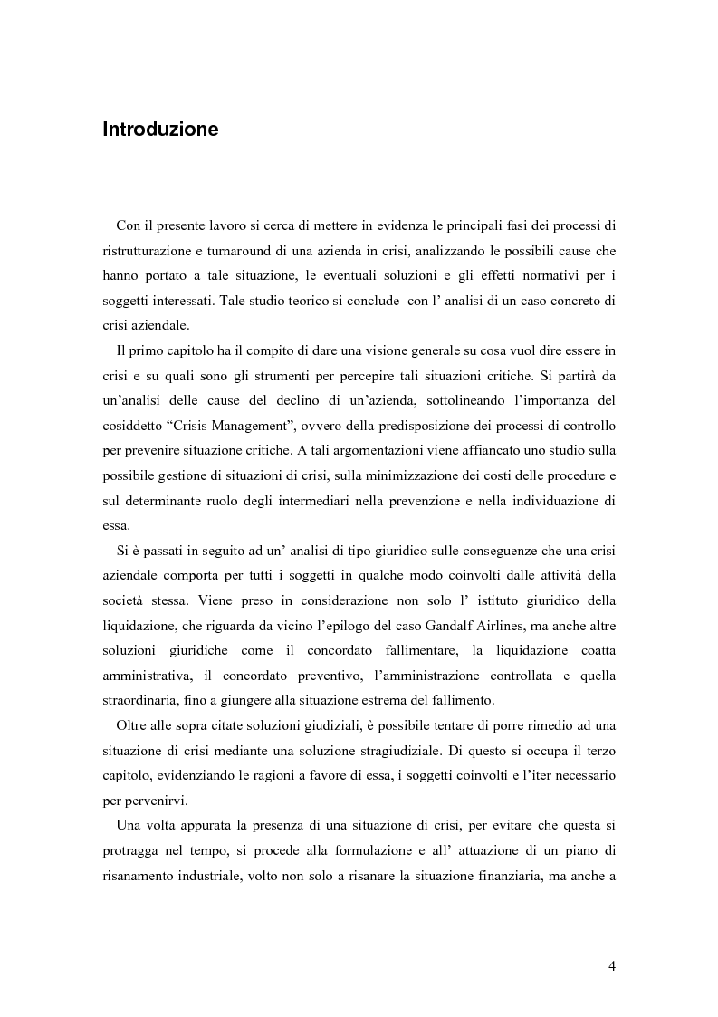 Anteprima della tesi: Crisi e ristrutturazione d'impresa: il caso Gandalf Airlines, Pagina 1