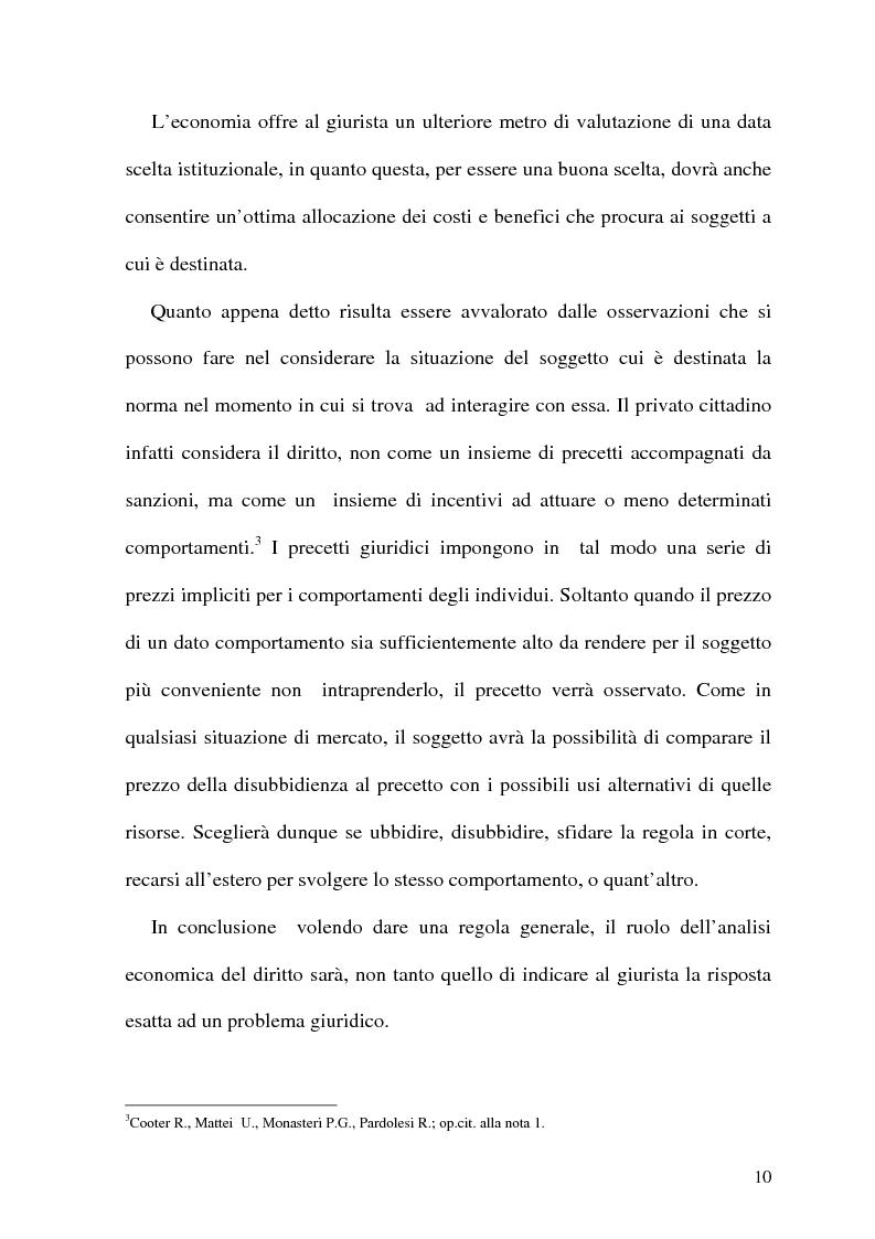 Anteprima della tesi: Analisi Economica del Diritto e Reponsabilita' Precontrattuale, Pagina 5
