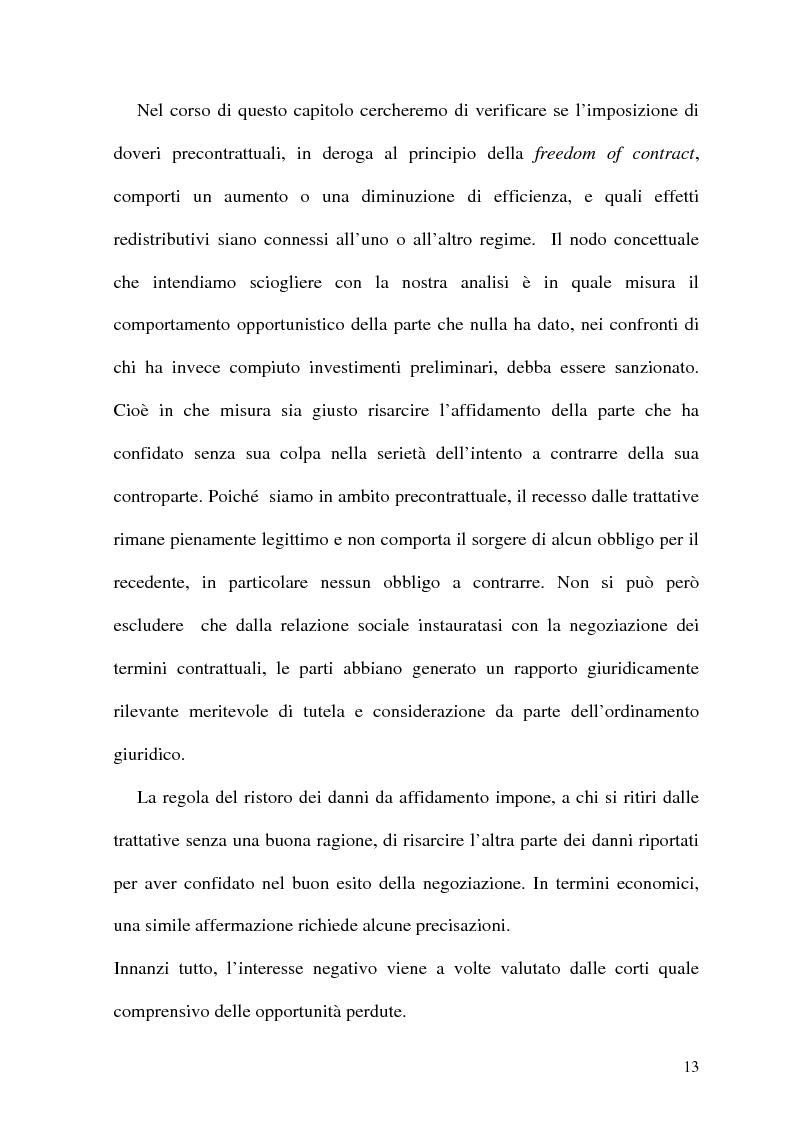 Anteprima della tesi: Analisi Economica del Diritto e Reponsabilita' Precontrattuale, Pagina 8