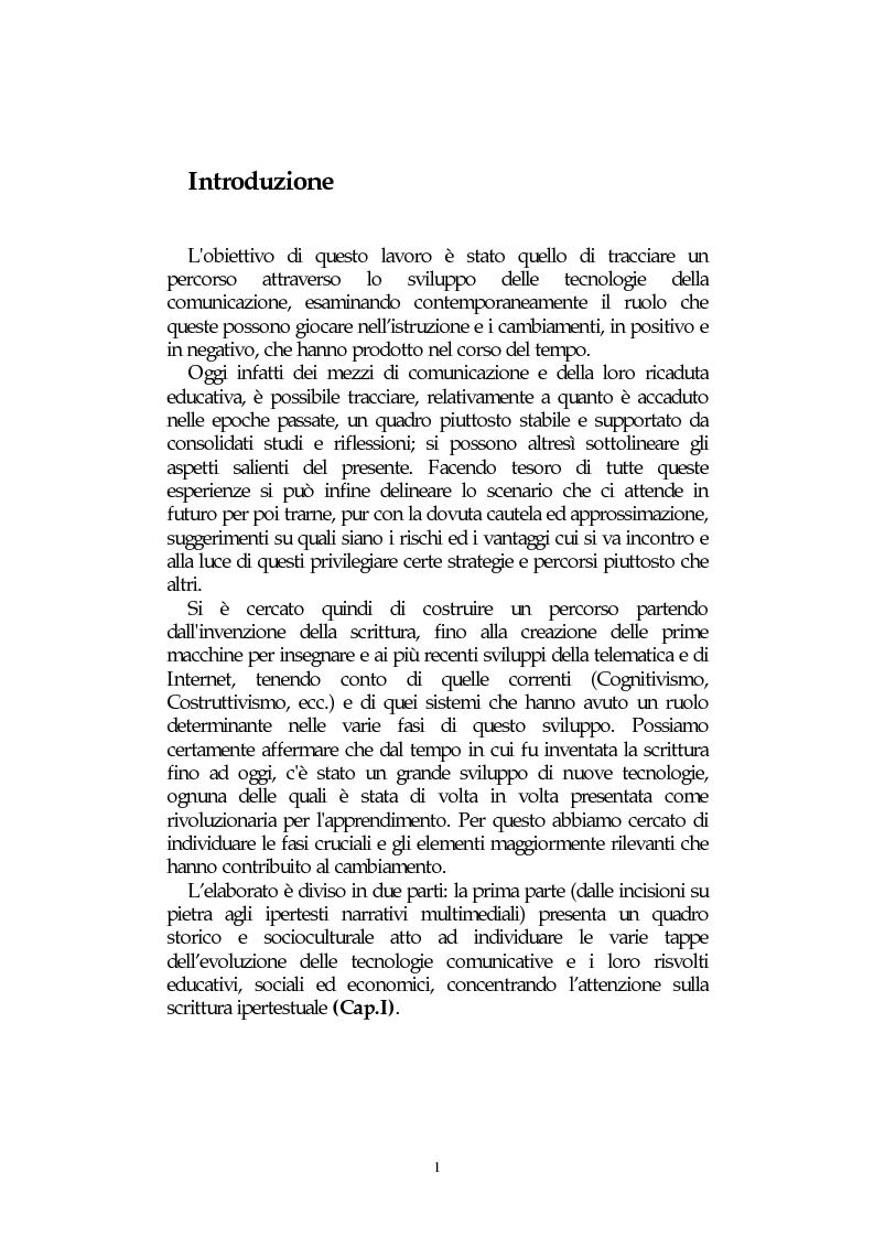 Anteprima della tesi: L' integrazione delle tecnologie informatiche nella didattica, un percorso fra testi, ipertesti, reti e sistemi intelligenti, Pagina 1
