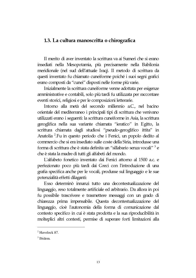 Anteprima della tesi: L' integrazione delle tecnologie informatiche nella didattica, un percorso fra testi, ipertesti, reti e sistemi intelligenti, Pagina 13