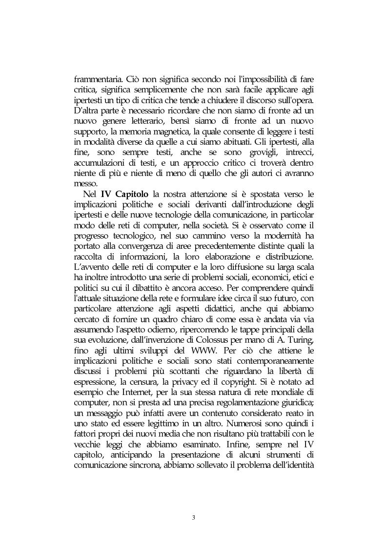 Anteprima della tesi: L' integrazione delle tecnologie informatiche nella didattica, un percorso fra testi, ipertesti, reti e sistemi intelligenti, Pagina 3