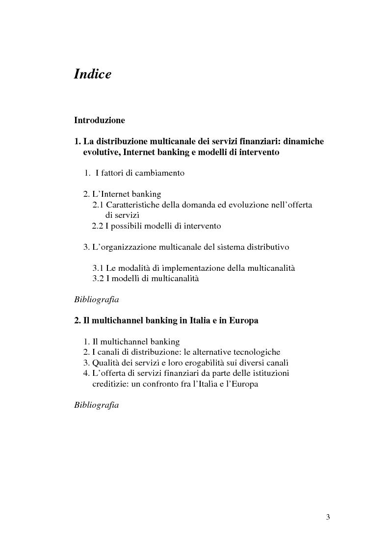 Indice della tesi: La banca multicanale e il CRM, Pagina 1