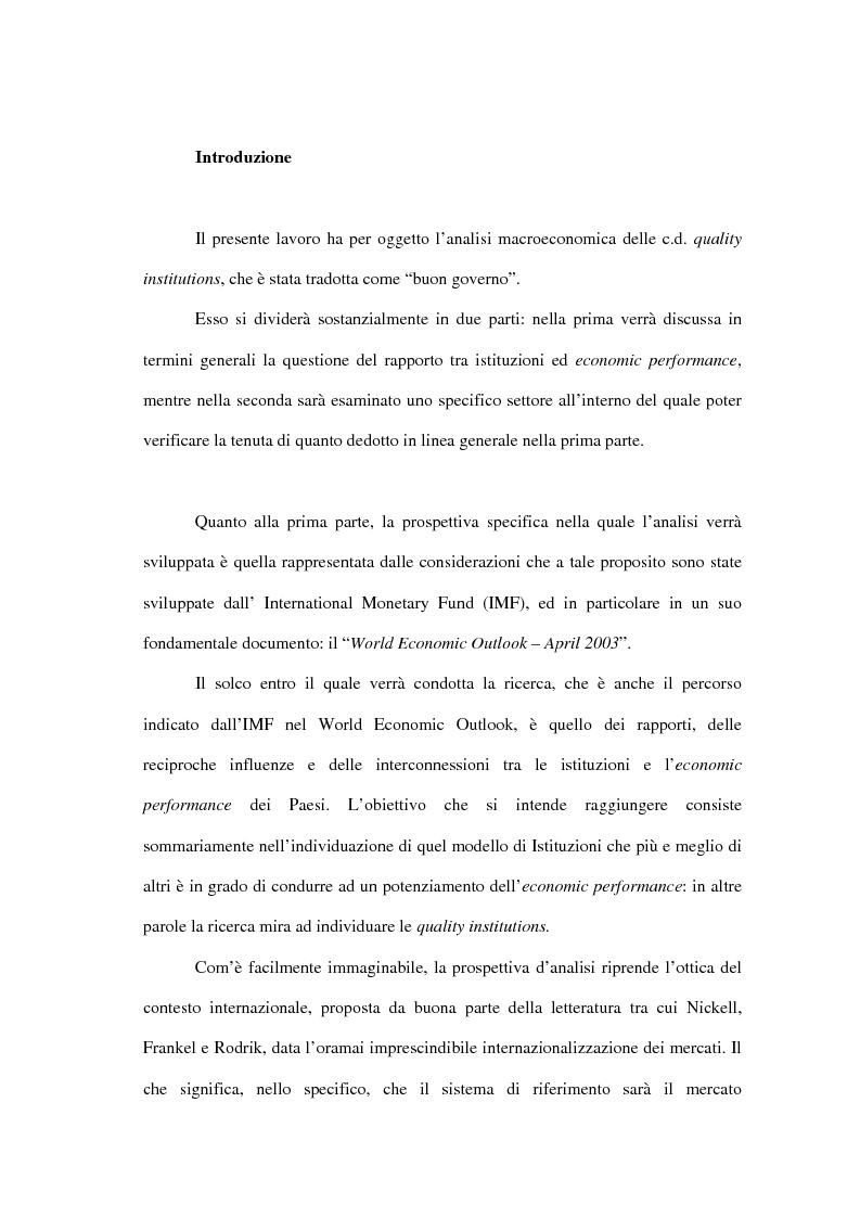 Anteprima della tesi: Buon Governo (Quality Institutions) e Crescita Economica: il Rapporto IMF, Pagina 1