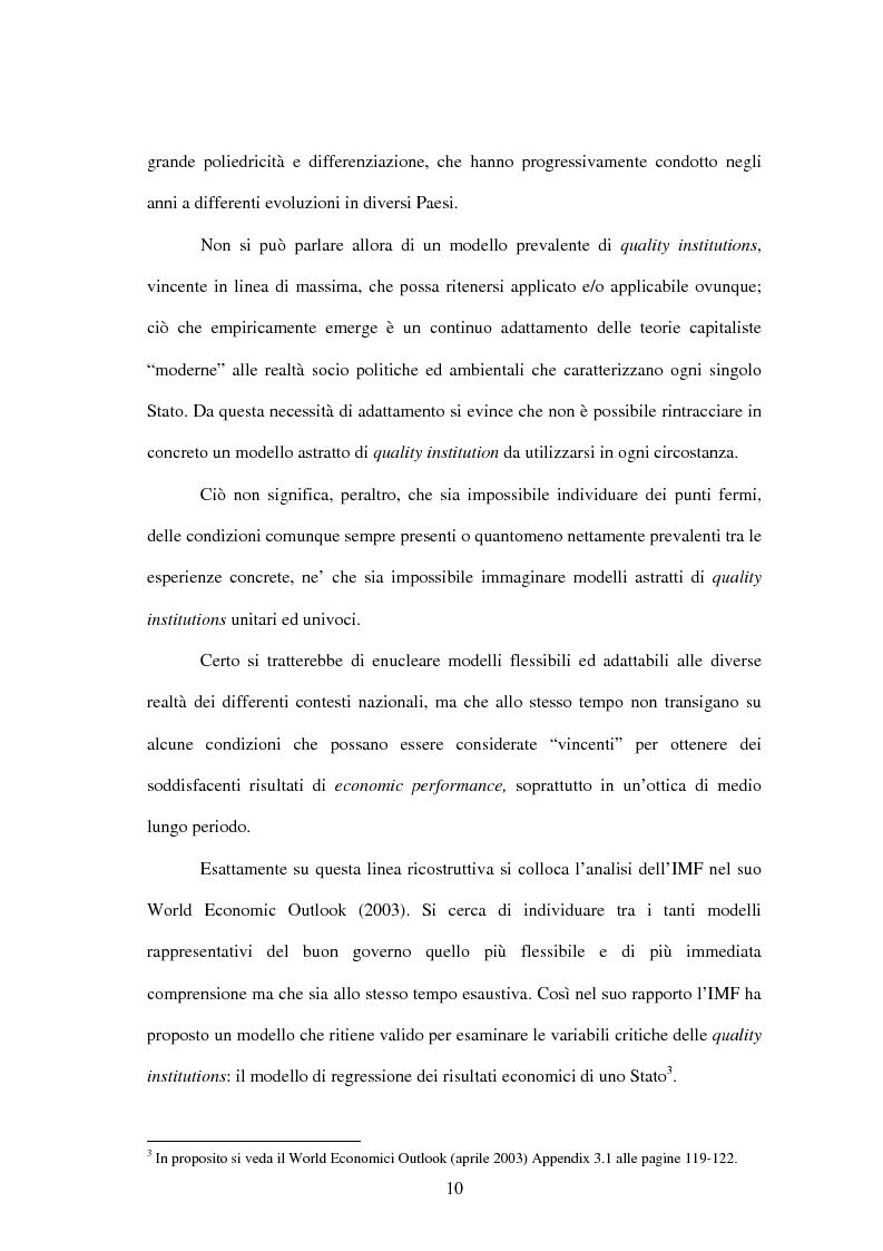 Anteprima della tesi: Buon Governo (Quality Institutions) e Crescita Economica: il Rapporto IMF, Pagina 6