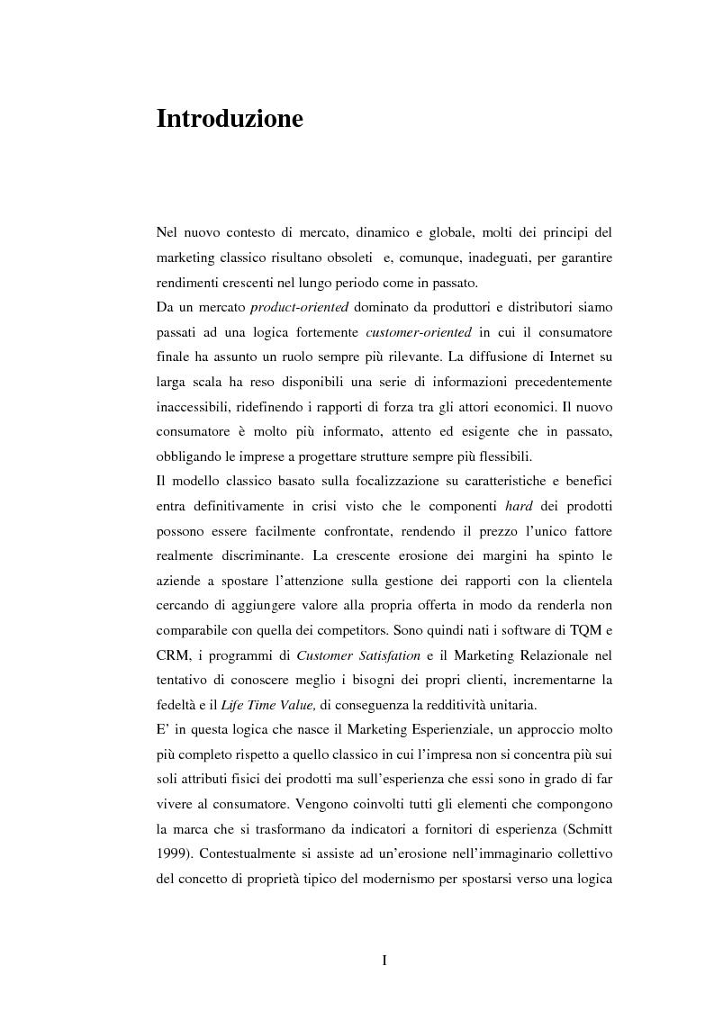 Anteprima della tesi: Il marketing esperienziale come risorsa strategica di gestione della marca. Il caso H3G, Pagina 1