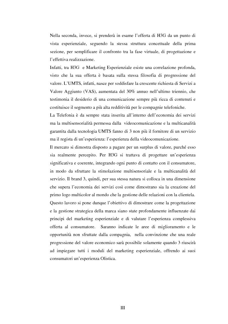 Anteprima della tesi: Il marketing esperienziale come risorsa strategica di gestione della marca. Il caso H3G, Pagina 3
