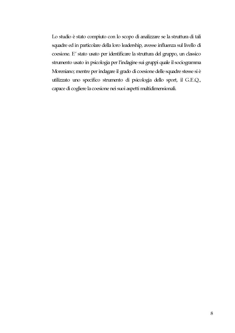 Anteprima della tesi: Gruppi, coesione e leadership informale. Un'indagine empirica nella pallavolo, Pagina 3
