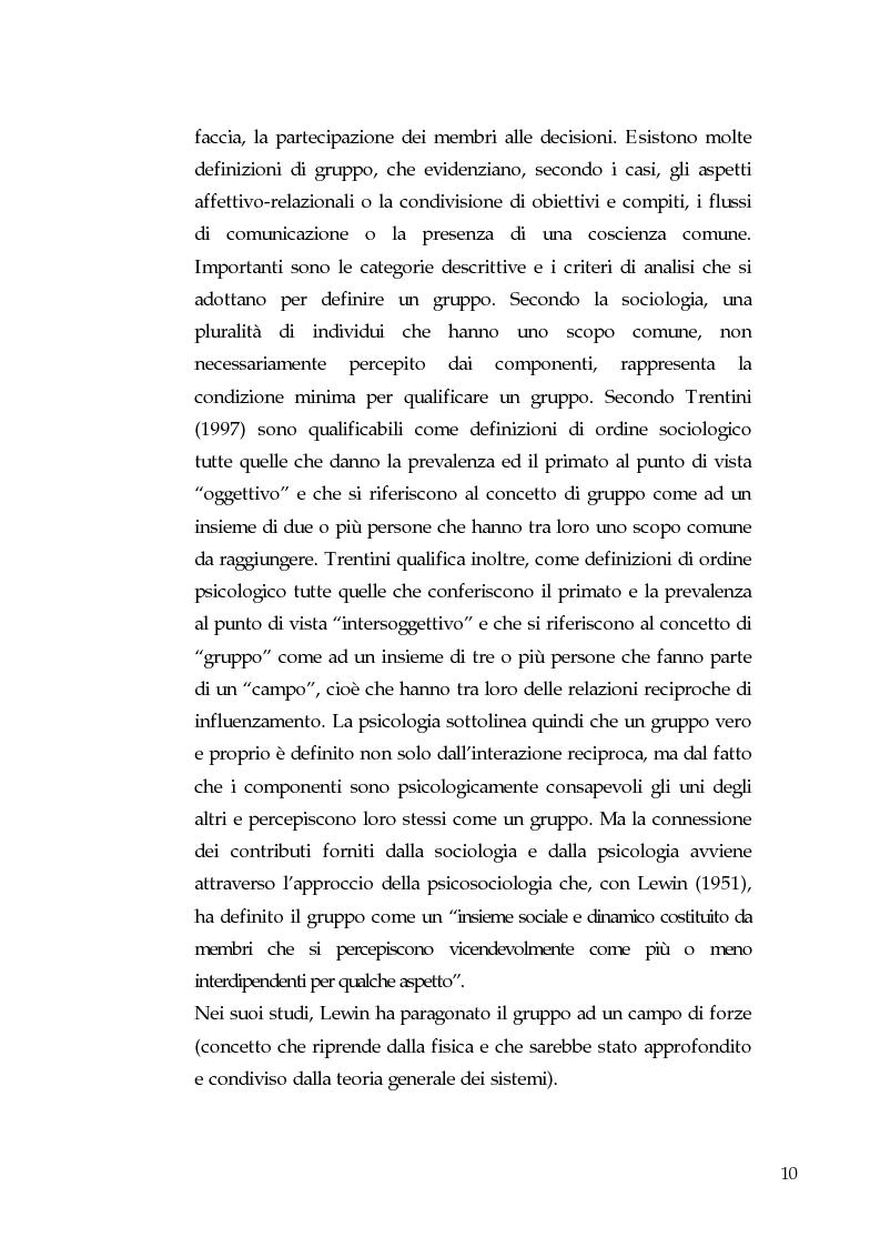 Anteprima della tesi: Gruppi, coesione e leadership informale. Un'indagine empirica nella pallavolo, Pagina 5