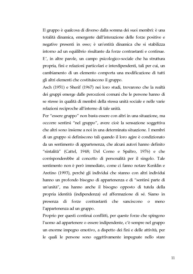 Anteprima della tesi: Gruppi, coesione e leadership informale. Un'indagine empirica nella pallavolo, Pagina 6