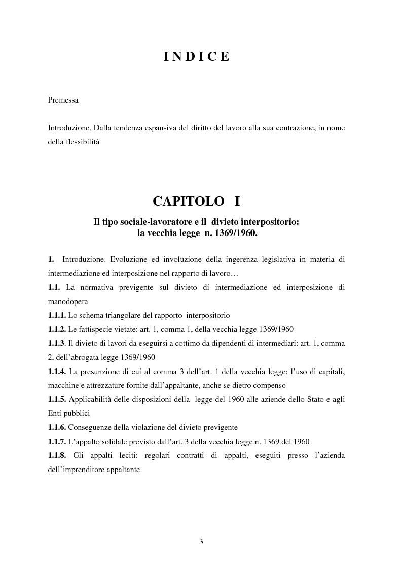 Indice della tesi: La somministrazione di lavoro, Pagina 1