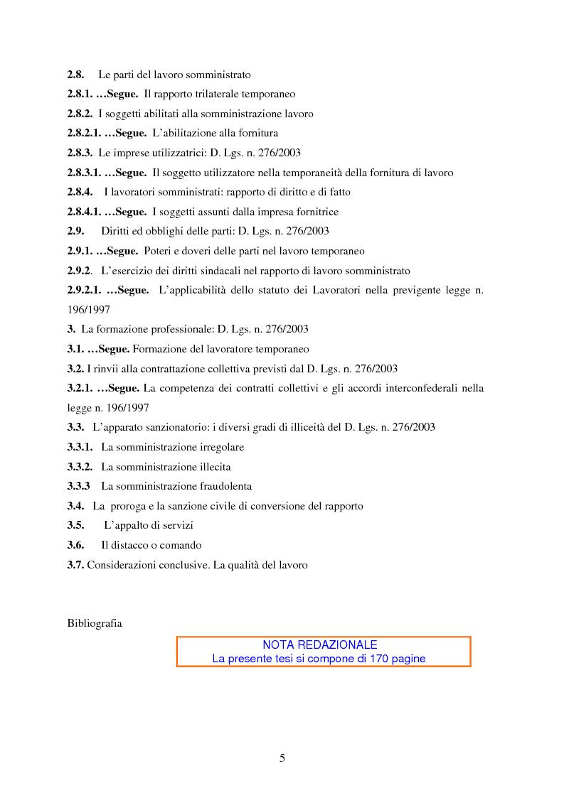 Indice della tesi: La somministrazione di lavoro, Pagina 3