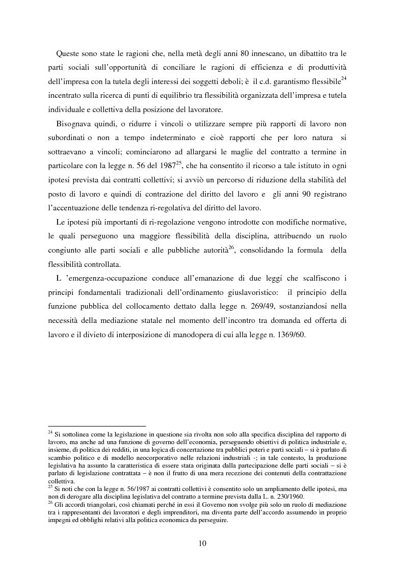 Anteprima della tesi: La somministrazione di lavoro, Pagina 10