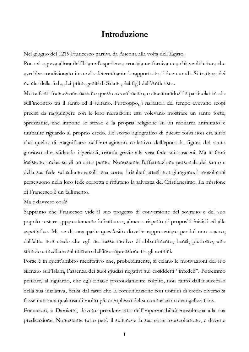 Anteprima della tesi: San Francesco alla corte del sultano. Fallimento del dialogo interreligioso all'alba del XIII secolo?, Pagina 1
