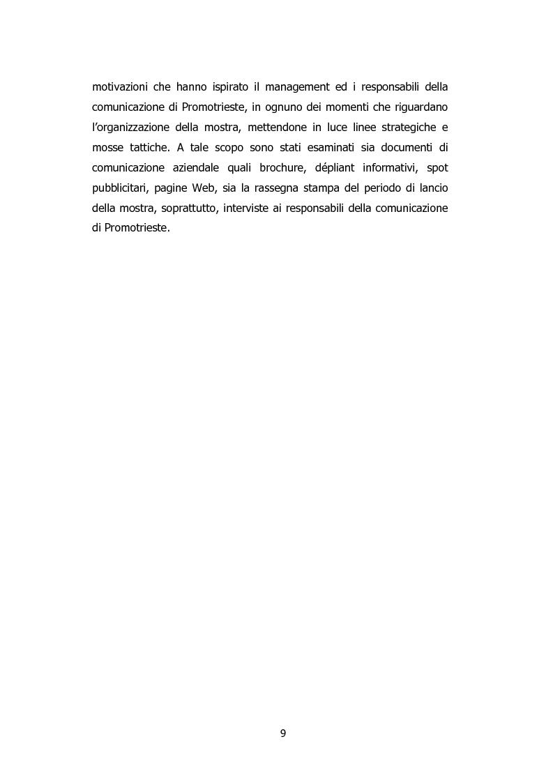 Anteprima della tesi: L'organizzazione degli eventi: Triesteantiqua Mostra-mercato dell'antiquariato, Pagina 3