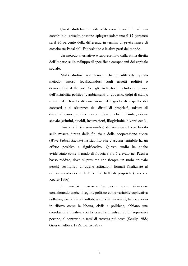 Anteprima della tesi: Capitale Sociale e Crescita Economica, Pagina 13