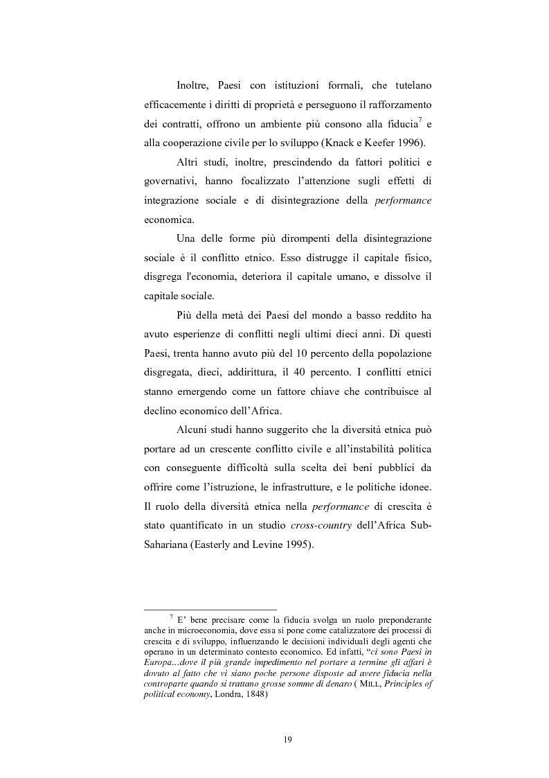 Anteprima della tesi: Capitale Sociale e Crescita Economica, Pagina 15
