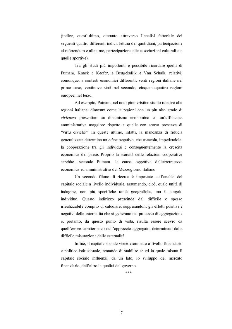 Anteprima della tesi: Capitale Sociale e Crescita Economica, Pagina 3