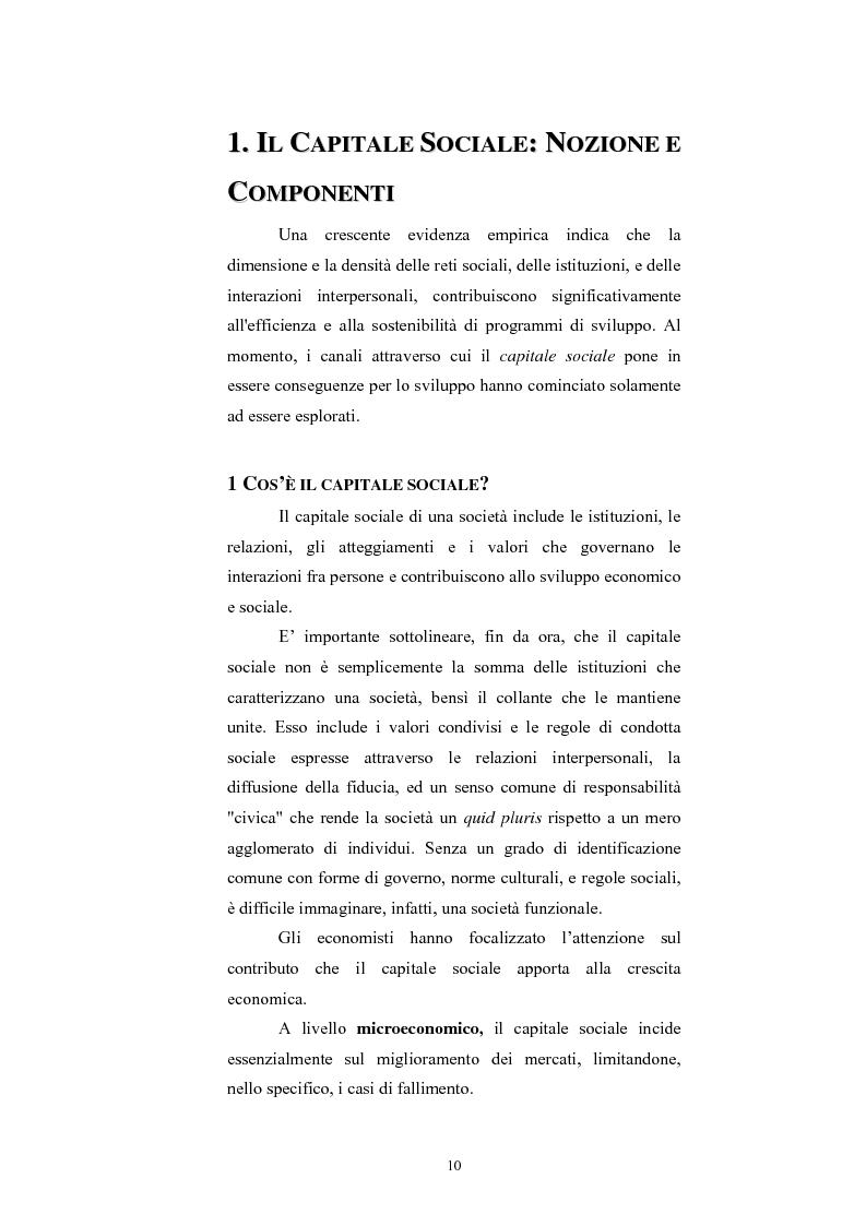 Anteprima della tesi: Capitale Sociale e Crescita Economica, Pagina 6