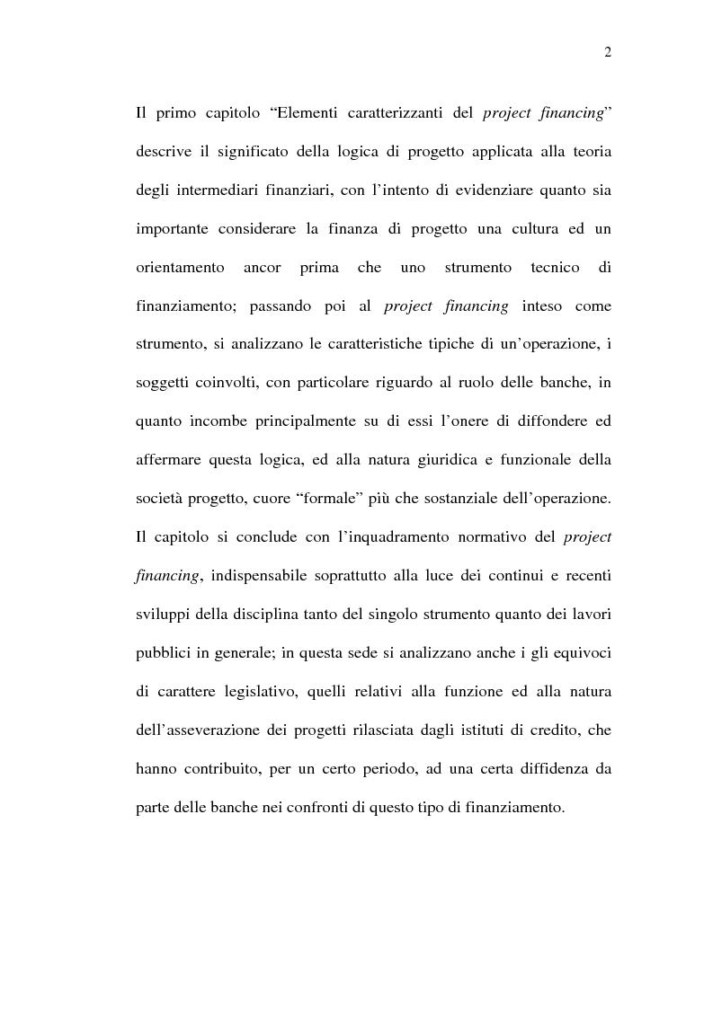 Anteprima della tesi: Il project financing e sue opportunità applicative nel Meridione, Pagina 2