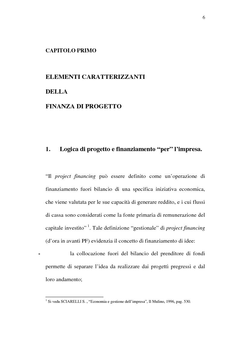 Anteprima della tesi: Il project financing e sue opportunità applicative nel Meridione, Pagina 6