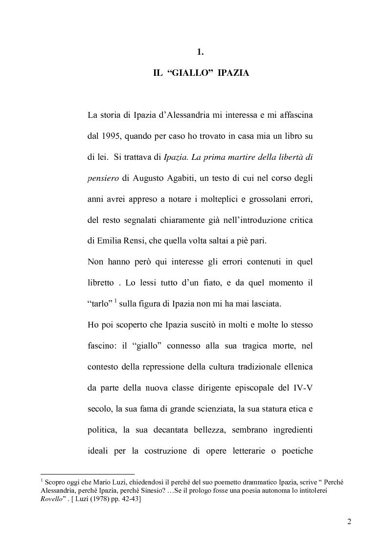 Anteprima della tesi: Ipazia: un delitto insoluto, Pagina 1