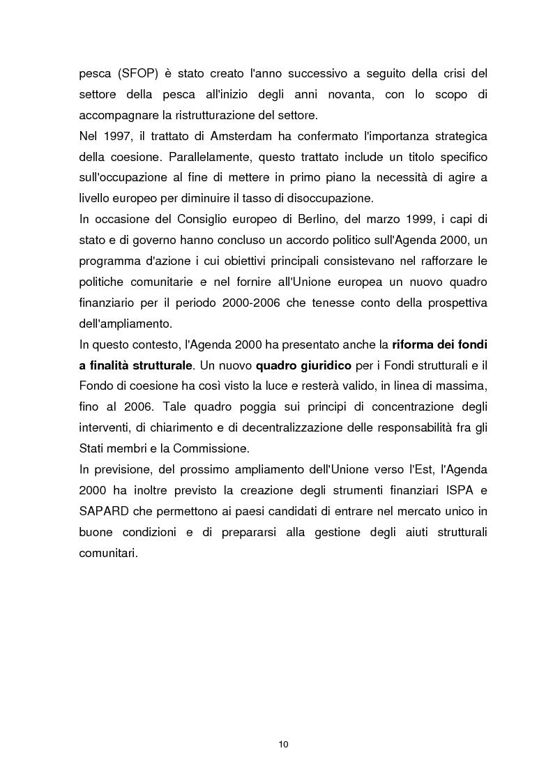 Anteprima della tesi: I Fondi Strutturali Europei. Il Fondo Sociale Europeo nella Regione Abruzzo, Pagina 6
