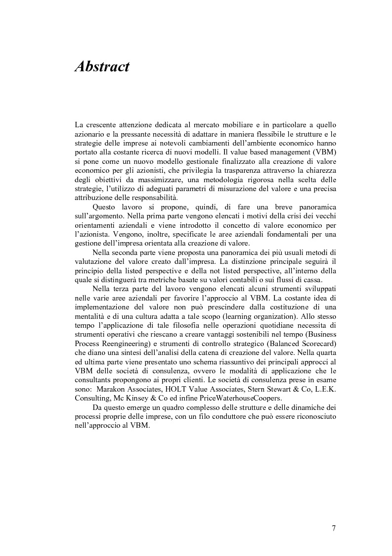 Anteprima della tesi: Riferimenti Teorici e Strumenti alla base del Value-based Management, Pagina 1
