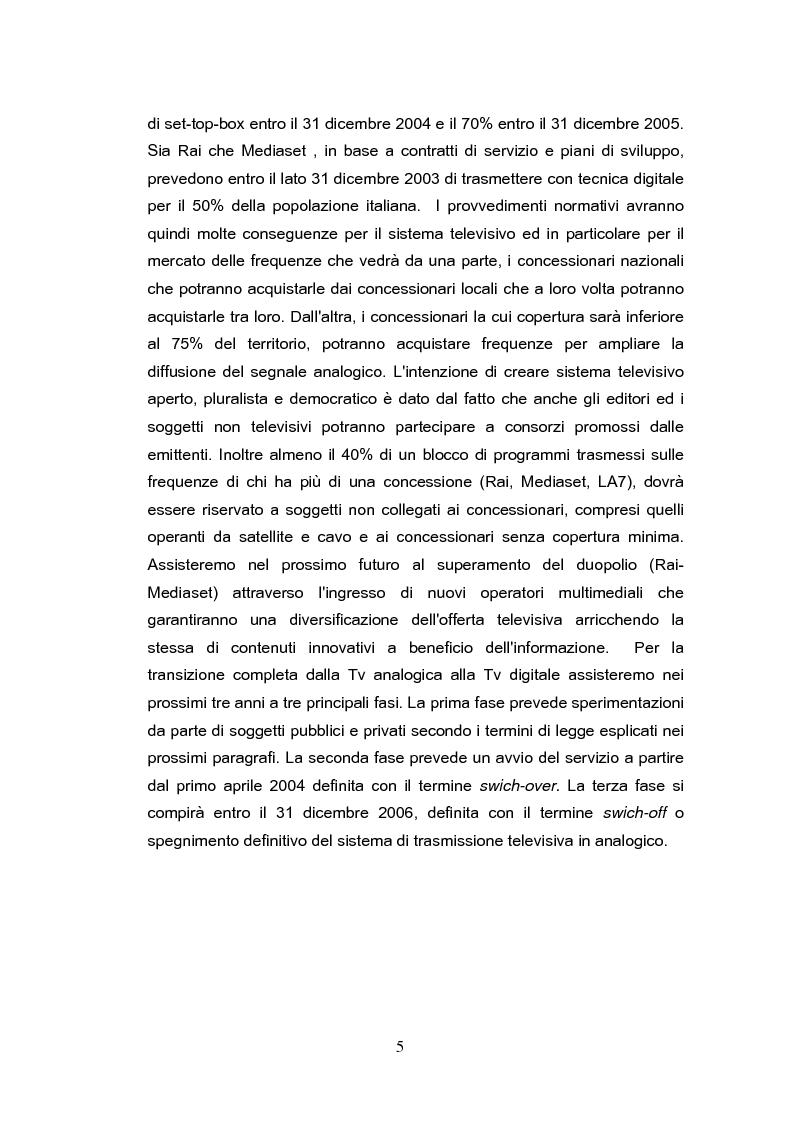 Anteprima della tesi: Forme e scenari futuribili della Televisione Digitale Terrestre, Pagina 5
