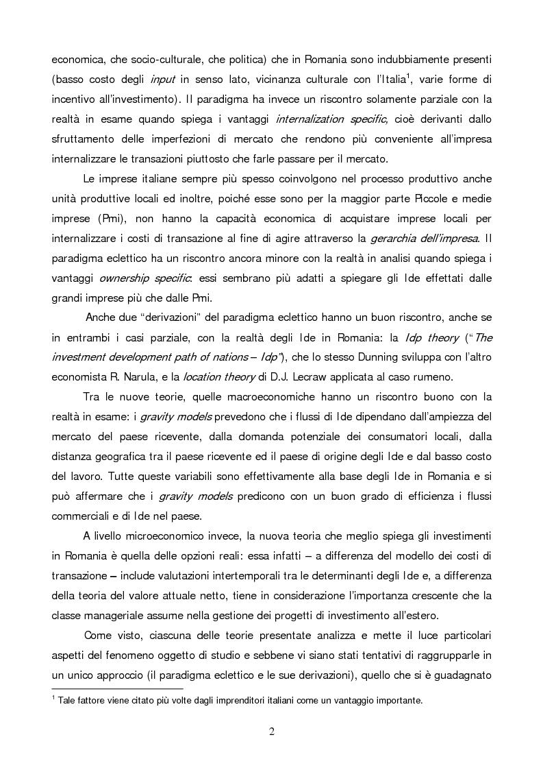 Anteprima della tesi: Gli investimenti diretti esteri in Romania: il ruolo degli investitori italiani, Pagina 2