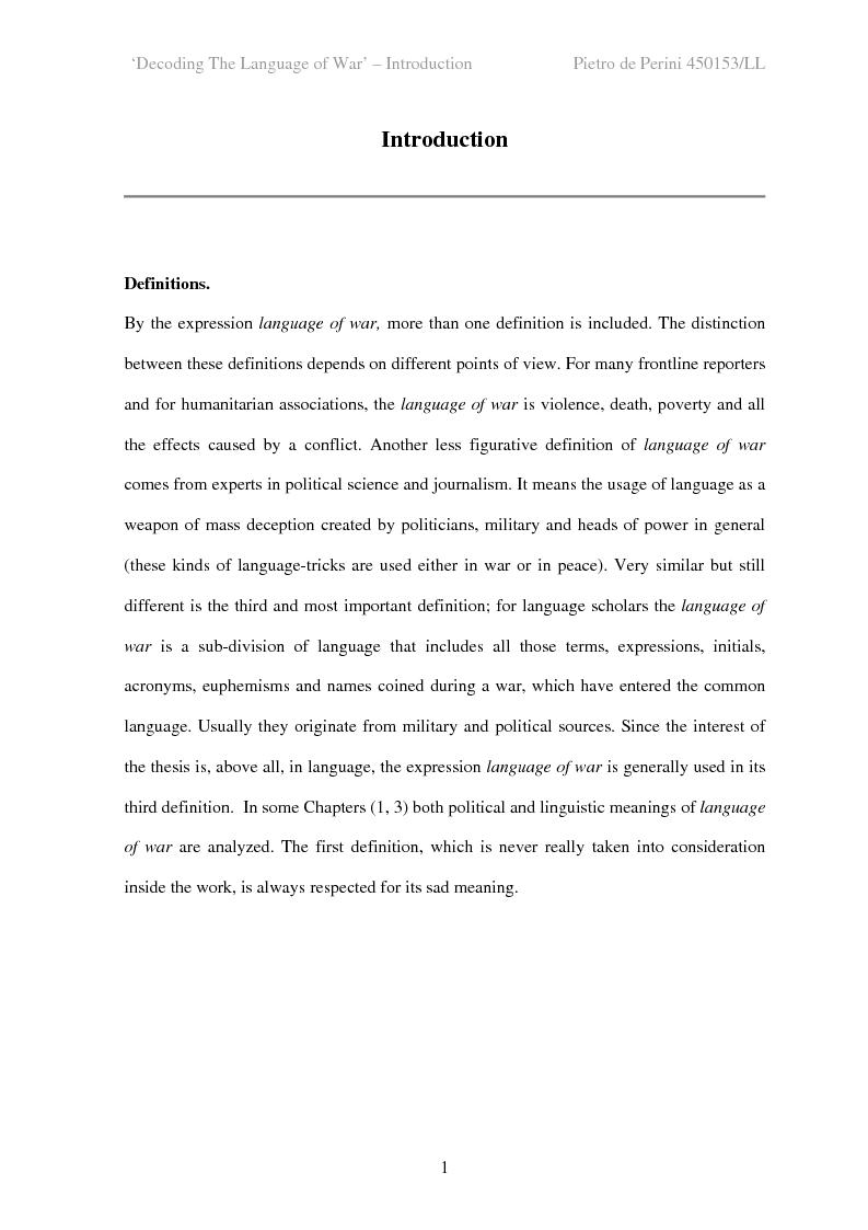 Anteprima della tesi: Decoding the Language of War, Pagina 1