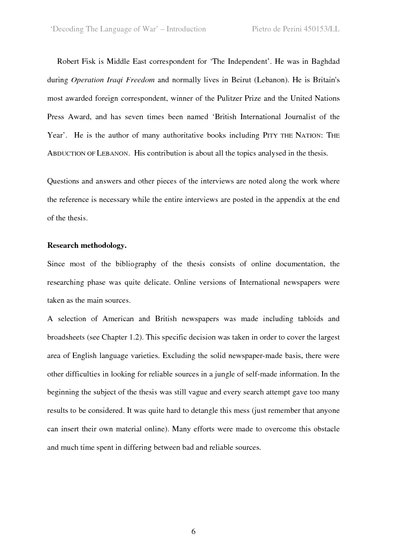 Anteprima della tesi: Decoding the Language of War, Pagina 6