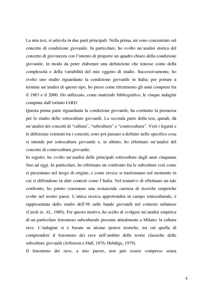 Anteprima della tesi: Identità giovanile e aggregazione antagonista: il caso della scena rave a Milano, Pagina 2