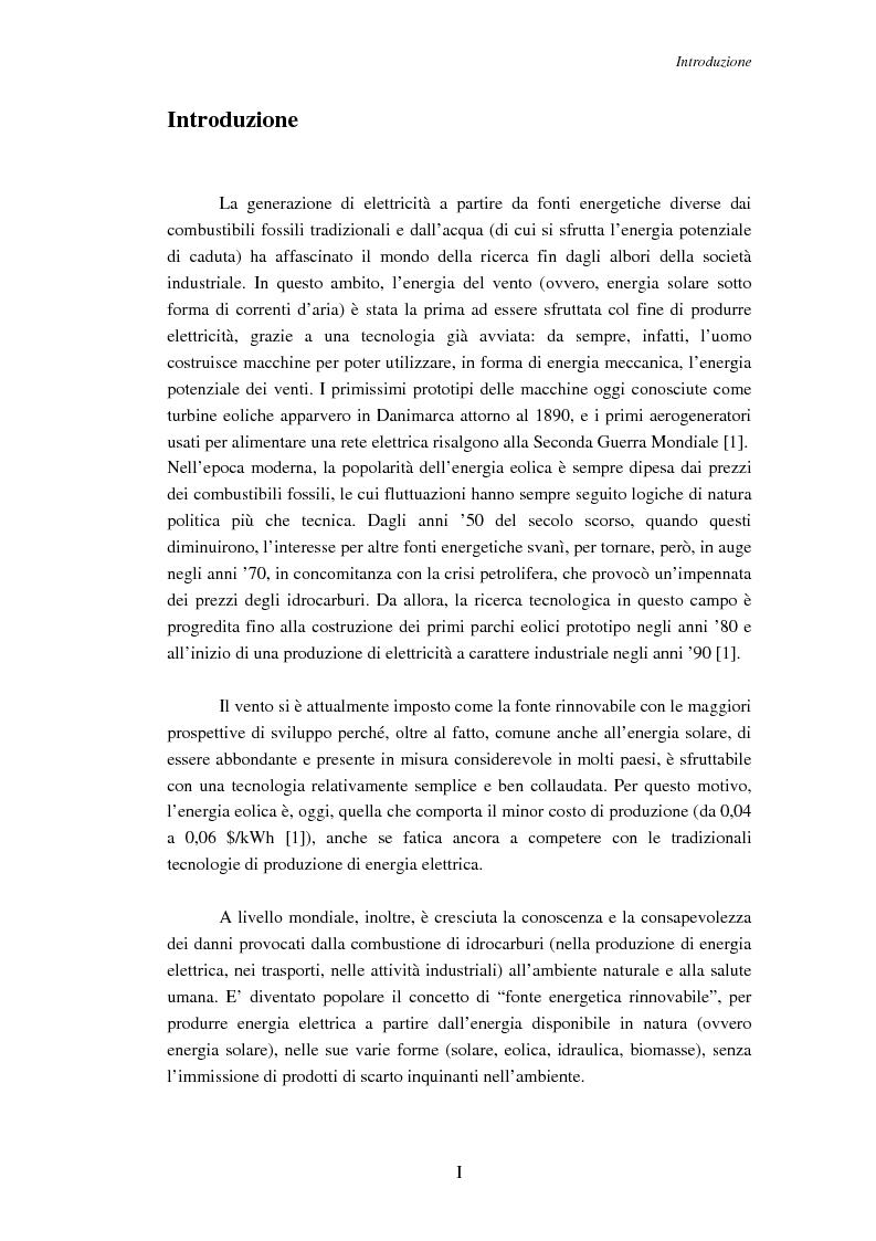 Anteprima della tesi: Impatto della generazione eolica sull'uso dei servizi ausiliari in regime di libero mercato, Pagina 1