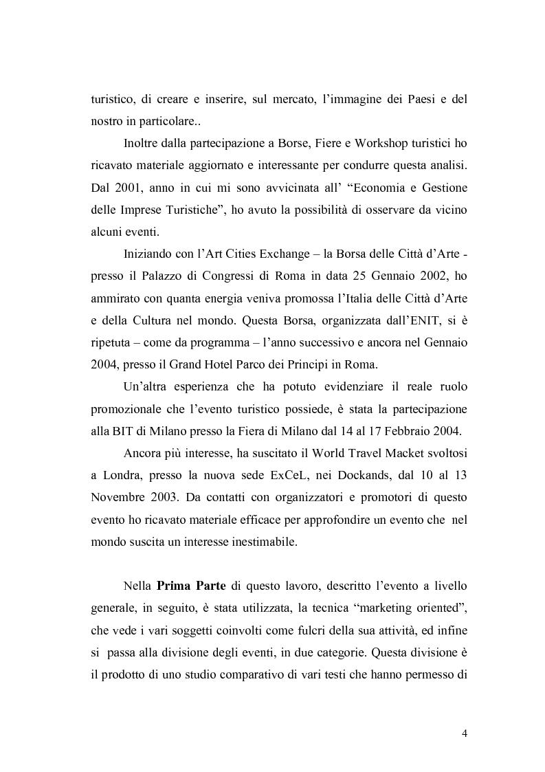 Anteprima della tesi: Eventi e manifestazioni turistiche. Ruolo promozionale e commerciale. Il caso World Travel Market., Pagina 2
