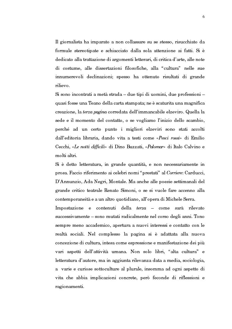 Anteprima della tesi: Giornalismo e letteratura. L'evoluzione della Terza pagina nella storia del Corriere della Sera, Pagina 3