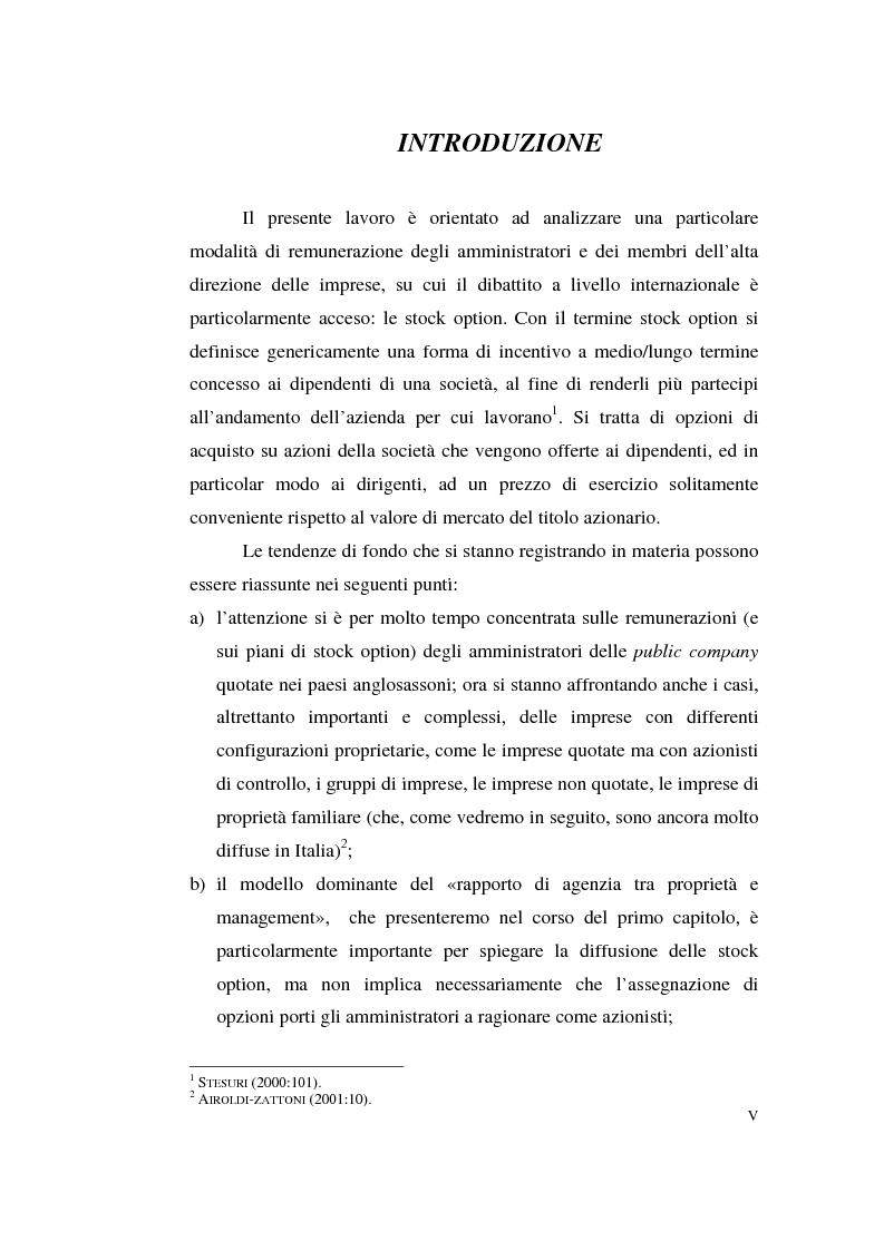 Anteprima della tesi: La contabilizzazione delle stock options, Pagina 1