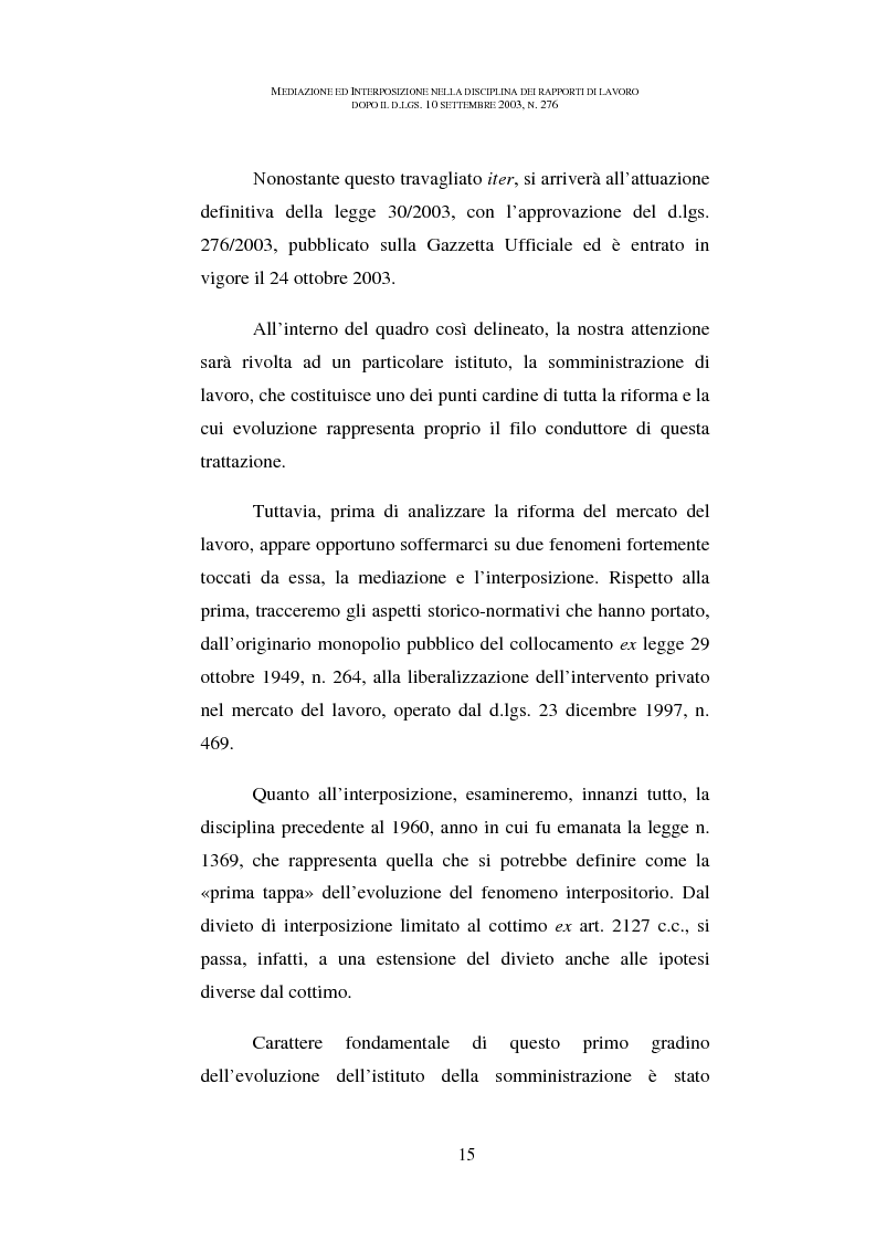 Anteprima della tesi: Mediazione ed interposizione nella disciplina dei rapporti di lavoro dopo il d.lgs. 10 settembre 2003, n. 276, Pagina 10