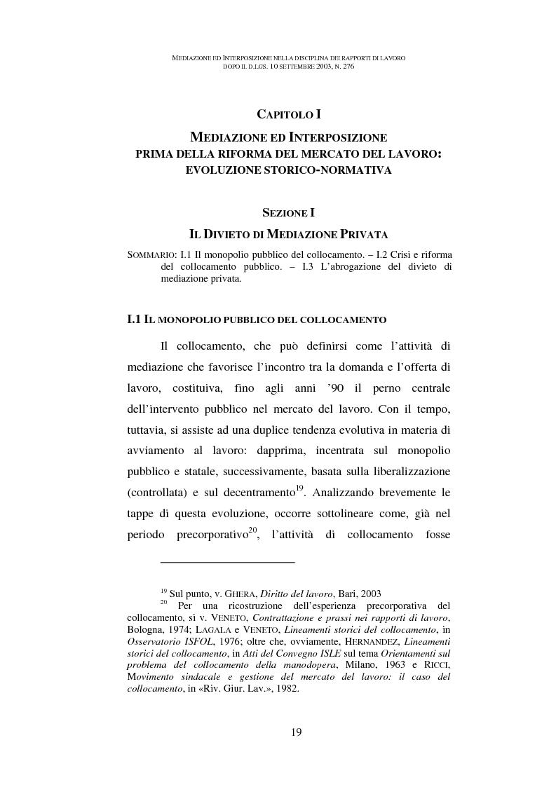 Anteprima della tesi: Mediazione ed interposizione nella disciplina dei rapporti di lavoro dopo il d.lgs. 10 settembre 2003, n. 276, Pagina 14