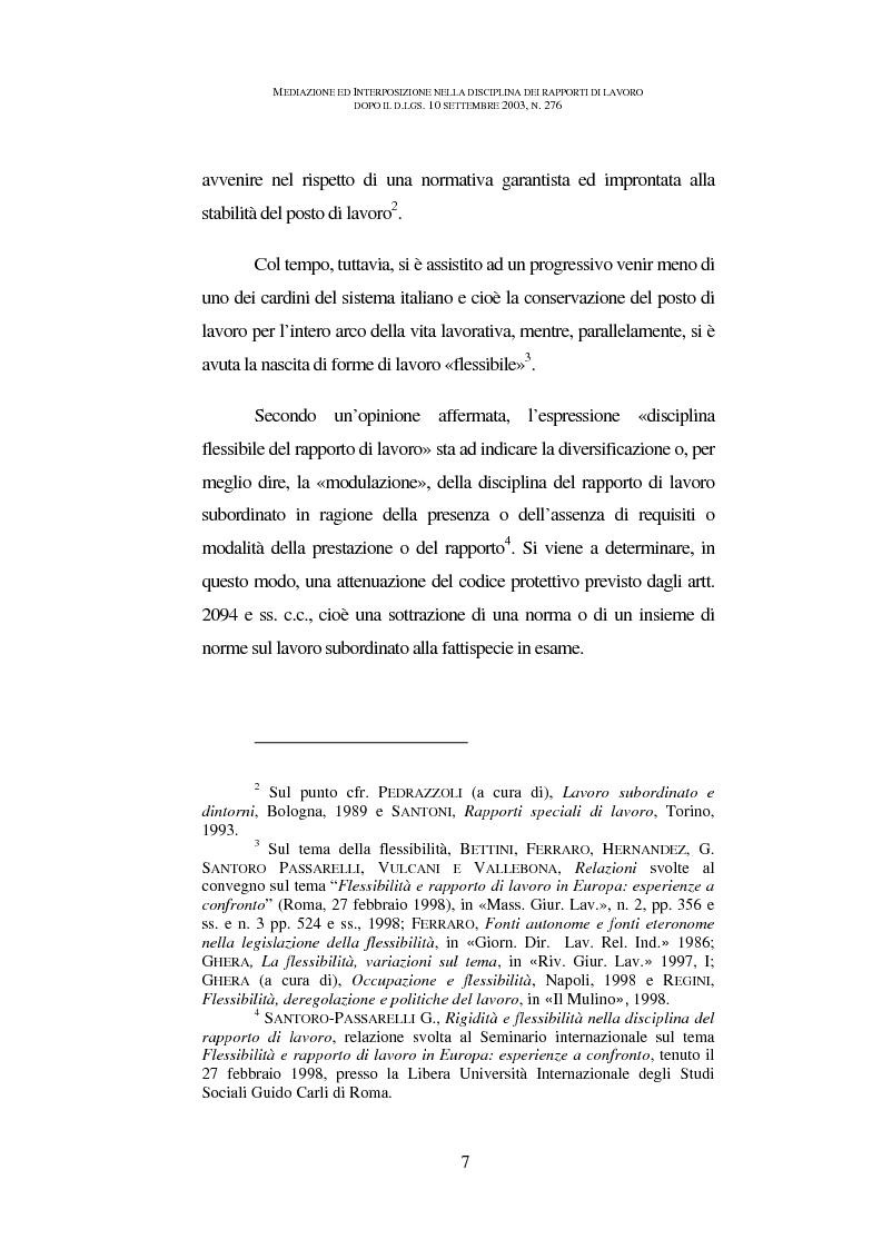 Anteprima della tesi: Mediazione ed interposizione nella disciplina dei rapporti di lavoro dopo il d.lgs. 10 settembre 2003, n. 276, Pagina 2