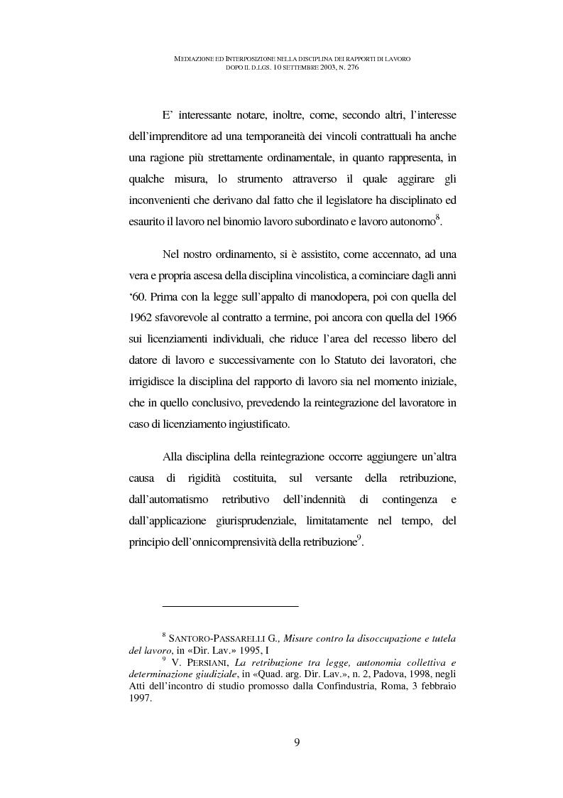 Anteprima della tesi: Mediazione ed interposizione nella disciplina dei rapporti di lavoro dopo il d.lgs. 10 settembre 2003, n. 276, Pagina 4