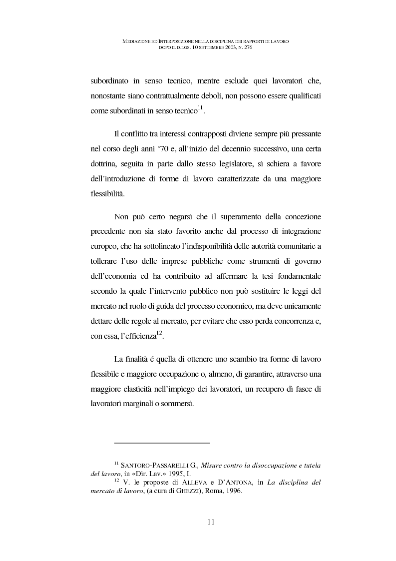 Anteprima della tesi: Mediazione ed interposizione nella disciplina dei rapporti di lavoro dopo il d.lgs. 10 settembre 2003, n. 276, Pagina 6