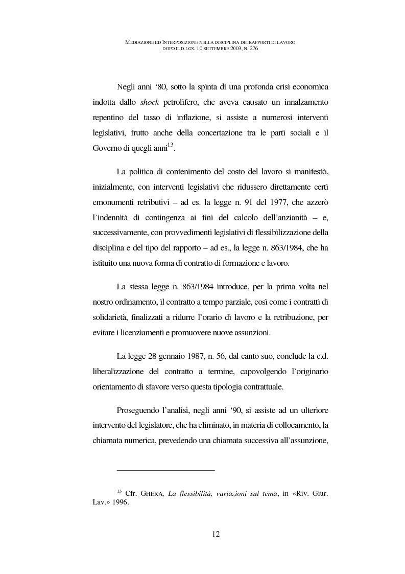 Anteprima della tesi: Mediazione ed interposizione nella disciplina dei rapporti di lavoro dopo il d.lgs. 10 settembre 2003, n. 276, Pagina 7