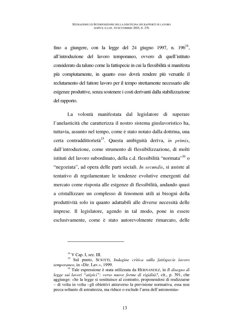 Anteprima della tesi: Mediazione ed interposizione nella disciplina dei rapporti di lavoro dopo il d.lgs. 10 settembre 2003, n. 276, Pagina 8