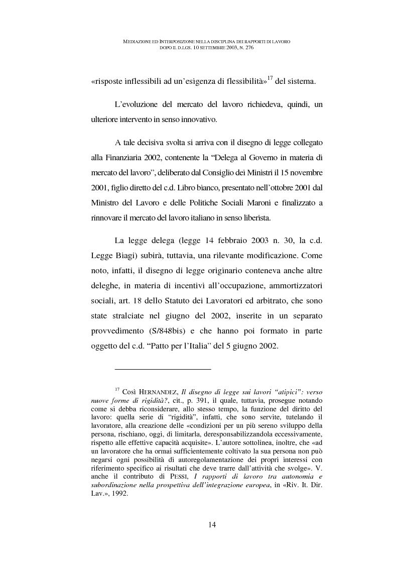 Anteprima della tesi: Mediazione ed interposizione nella disciplina dei rapporti di lavoro dopo il d.lgs. 10 settembre 2003, n. 276, Pagina 9