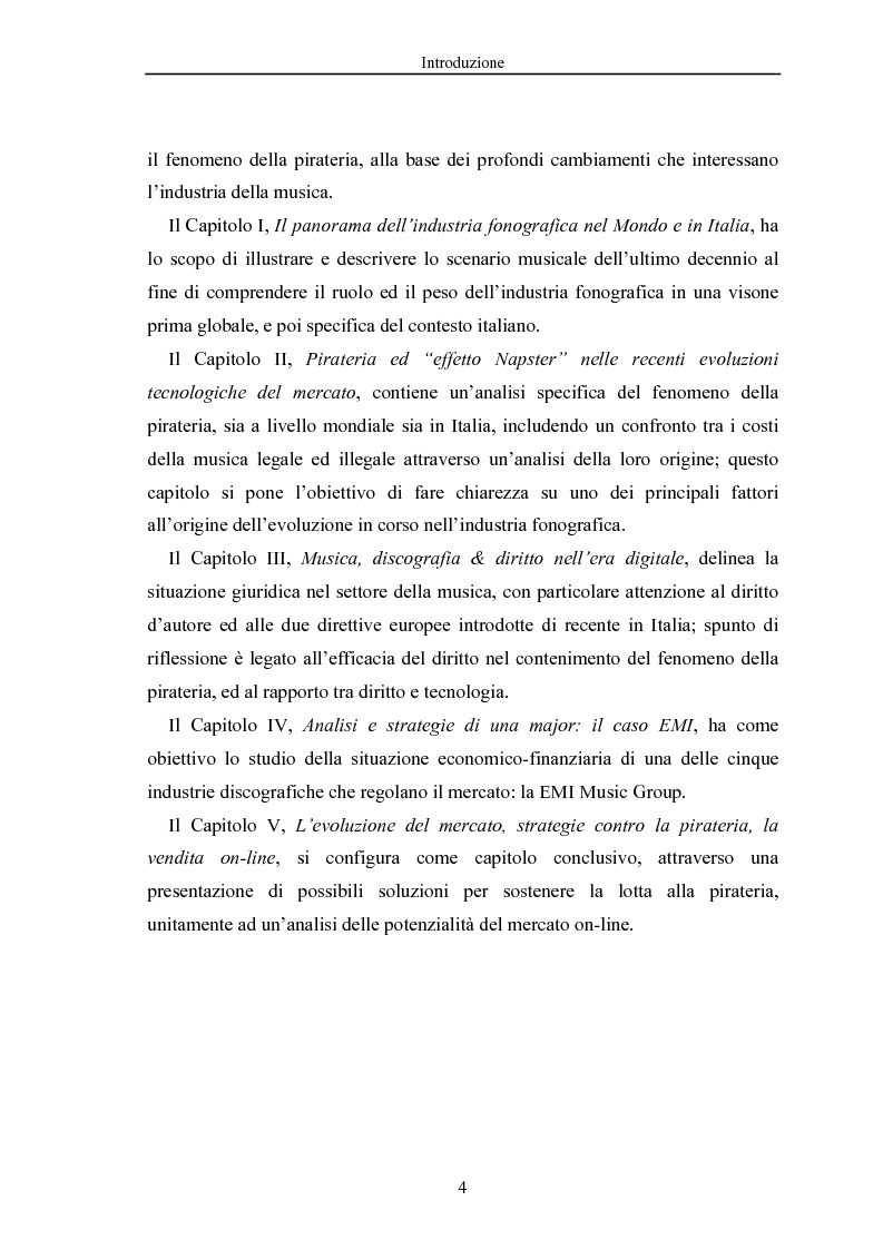 Anteprima della tesi: La crisi dell'industria discografica a seguito della pirateria e dell'effetto ''Napster'', il caso EMI, Pagina 4
