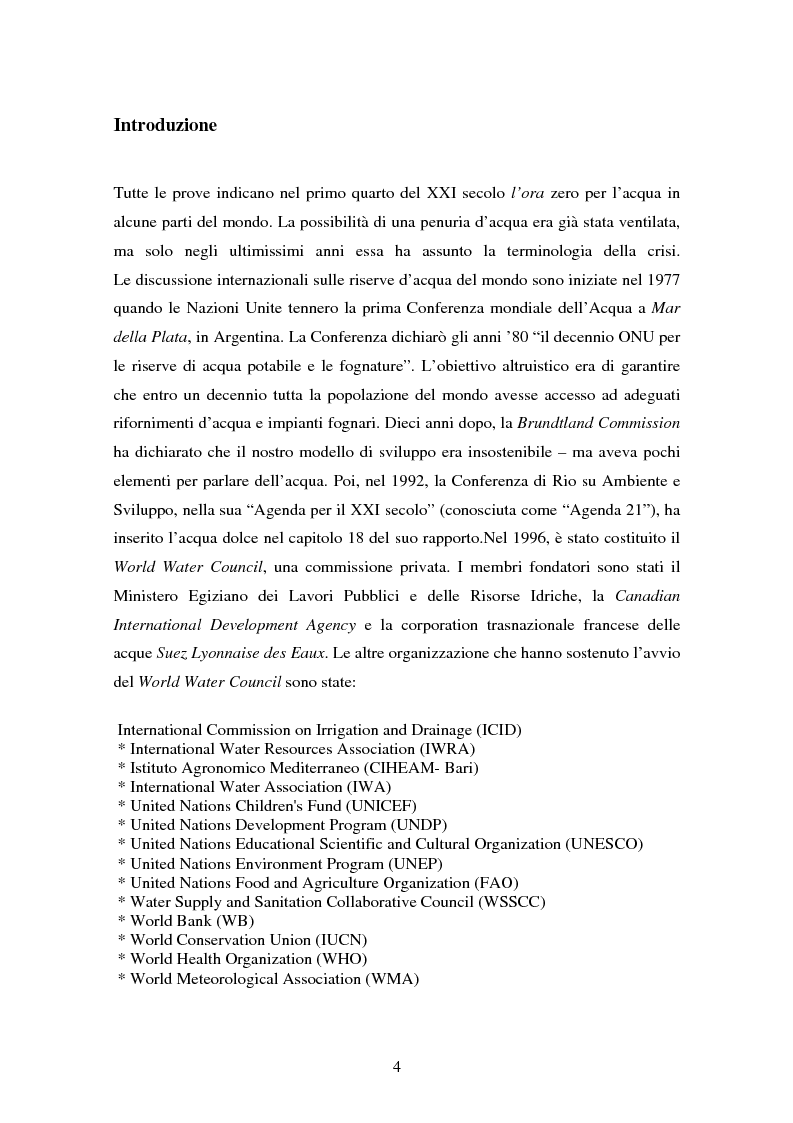 Anteprima della tesi: La gestione dell'acqua e i fallimenti della privatizzazione idrica in alcuni PVS, Pagina 1