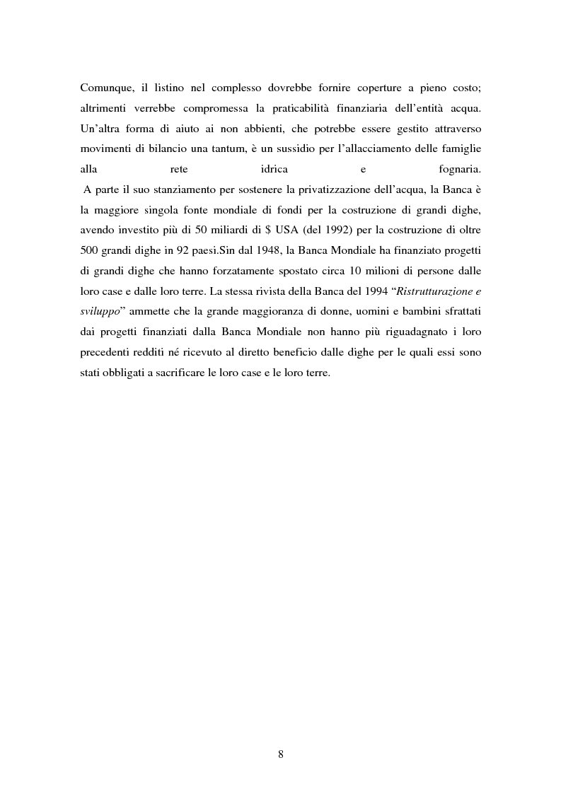 Anteprima della tesi: La gestione dell'acqua e i fallimenti della privatizzazione idrica in alcuni PVS, Pagina 5