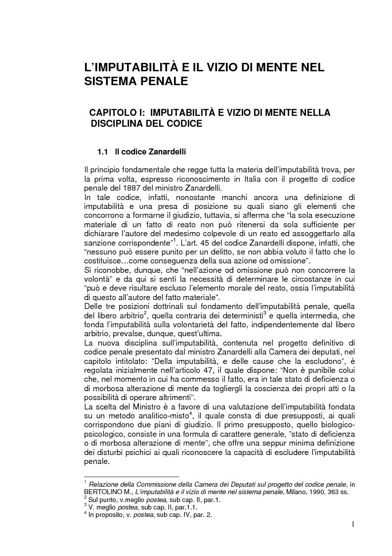 Anteprima della tesi: L'imputabilità e il vizio di mente nel sistema penale, Pagina 1
